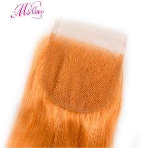 Image 5 - 事前色オレンジクロージャー 4 ストレート 24 26 28 30 レミーブラジルの人間の毛髪 3 と 4 バンドル閉鎖 MS 愛
