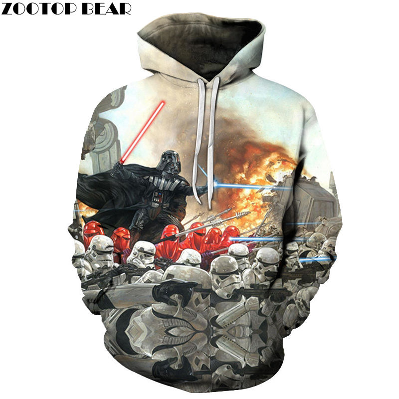 2019 Fashion Street 3D Hoodies Cotton Sweatshirts Star Wars Anime Men Pullover Casual Tracksuits Drop Ship Hot Sell ZOOTOP BEAR