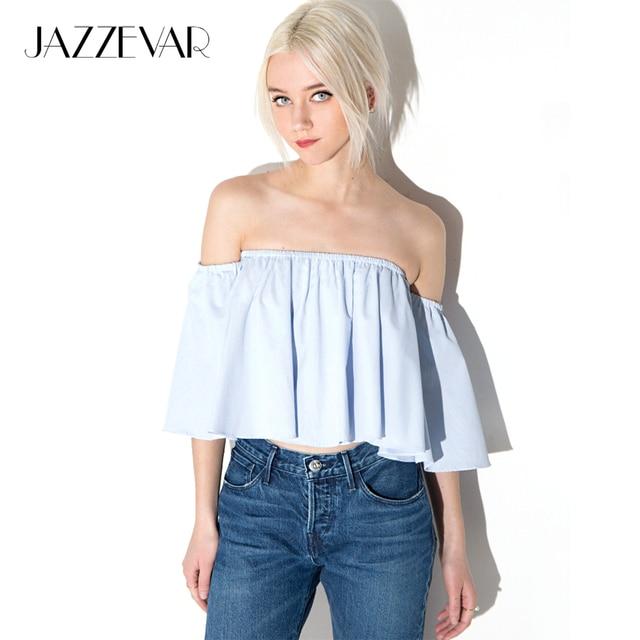 4a181d6317e JAZZEVAR New Summer Fashion Trend Women s Smock Top Off Shoulder Brief Ruffles  Girl s PETITE Structured Bardot Short Blouse
