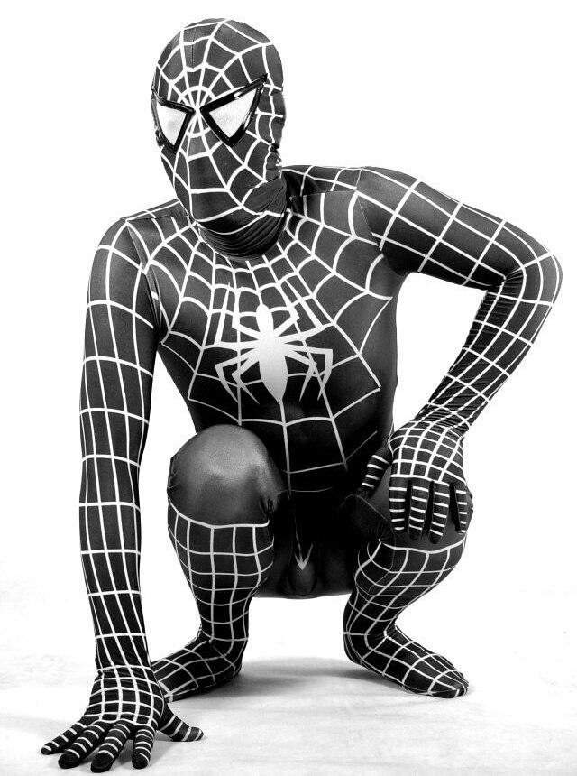 Фиолетовый лайкра/купальник из спандекса Человек-паук Питер Бенджамин Паркер костюм - Цвет: black