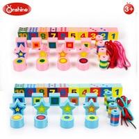 Onshine 27 개 diy 나무 디지털 모양 레이싱 빌딩 블록 모인 파란색 장난감 학습 및 교육 장난감 선물