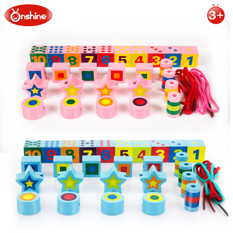 Onshine 27pcs DIY Wooden Digital Shape Lacing Building Blocks stringing beaded Toys For Children Learning & Education Toys Gifts 230pcs variety popper beaded cordless fight intellectual development jewelry building blocks puzzle handmade diy children s toys