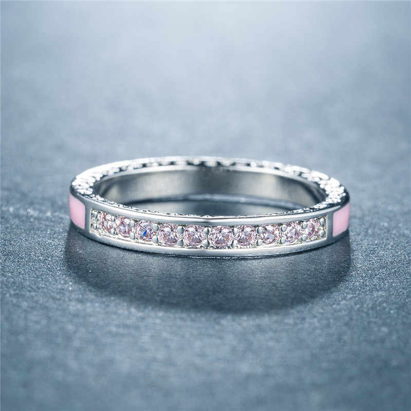 Modyle สีขาวทอง Radiant Hearts สีชมพูและคริสตัล Cz แหวนผู้หญิงวันแม่เครื่องประดับ