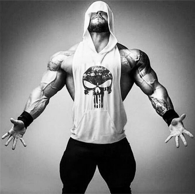 Skull Bodybuilding Stringer Tank Tops men Gyms Stringer Shirt Fitness Tank Top Men Gyms Clothing Cotton Vest hoodies 3