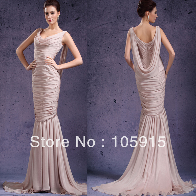 Junoesque 1920s Vintage Ribbons Ruched Mermaid prom Long Dress ...