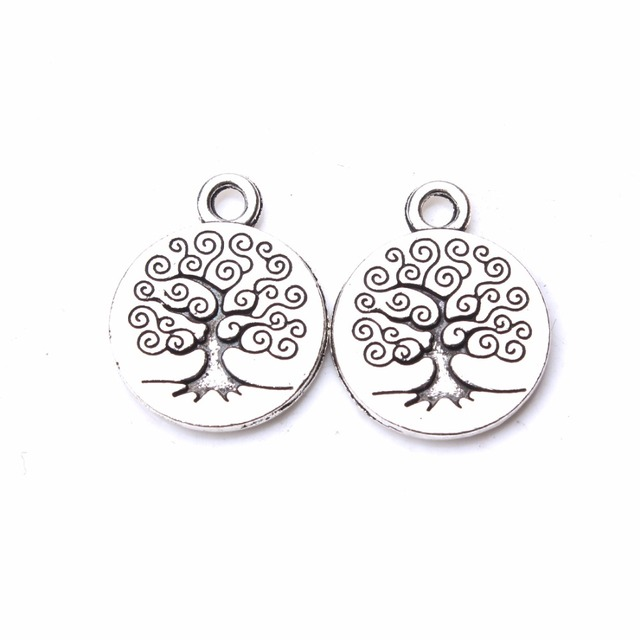 10 piezas/lote Vintage árbol vida dijes plata antigua tono árbol planta encantos para joyería fabricación de accesorios pulsera y brazalete colgante