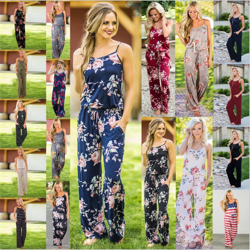 Floral Print Women's Fashion Casual Garden Sleeveless Jumpsuit Rompers S-3XL