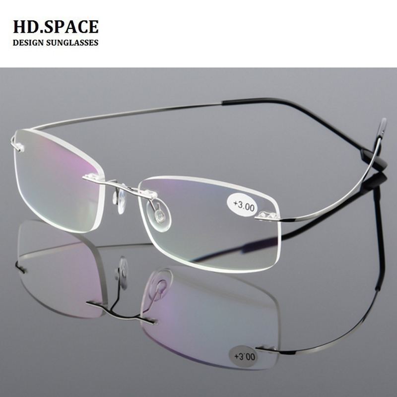 b01d76f59c7 HD.space New 9 Colors ultra-light reading glasses Memory Titanium Alloy  Rimless Presbyopia