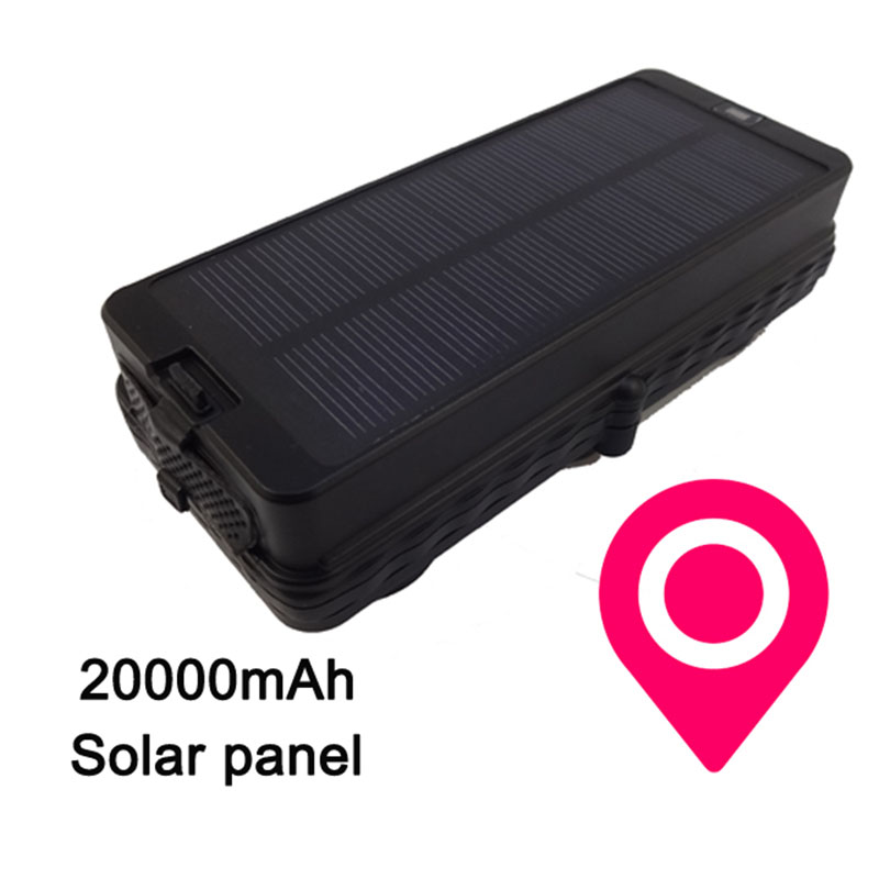Solar Panel GPS Tracker Real 20000mAh Rechargeable Battery Tracking Locator Free Software Location Car Vehicle bd02gps double locator tracker car chase battery electric vehicle anti