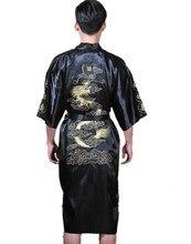 Шанхай История Китайских людей Атласная Полиэстер Вышивка Халат Кимоно Ночная Рубашка Дракон Пижамы Ml XL XXL 3XL