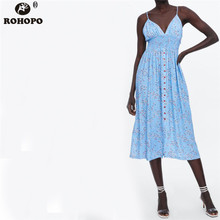 ROHOPO Women Sky Blue Slim Midi Dress Sleeveless Single Breast Tie Cute Tunic Dresses Backless Pleated #OYK9732