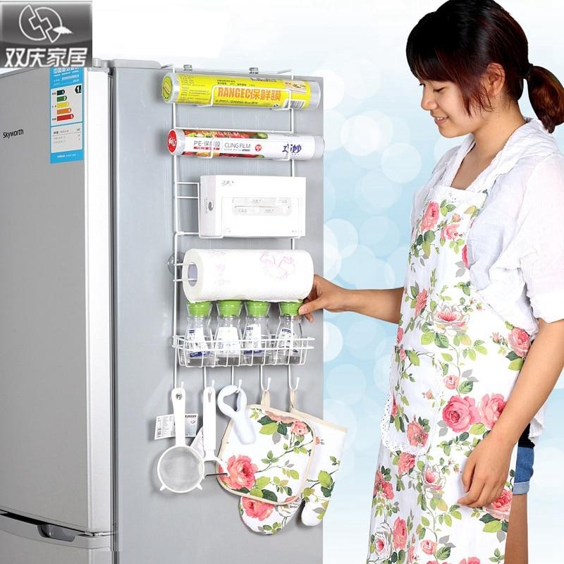 Refrigerador rack 4 unids ventosa gancho estante multifunción organizador del espacio cocina gancho titular condimento botellas de almacenamiento de rack