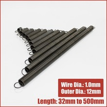 extension springs tension long 32mm to 500mm Wire dia 1.0mm Outer dia 12mm expansion extended expanding