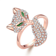Fashion real rose gold plated ring with AAA grade zircon cool fox modelling Sexy jewelry for woman surprise Christmas gift