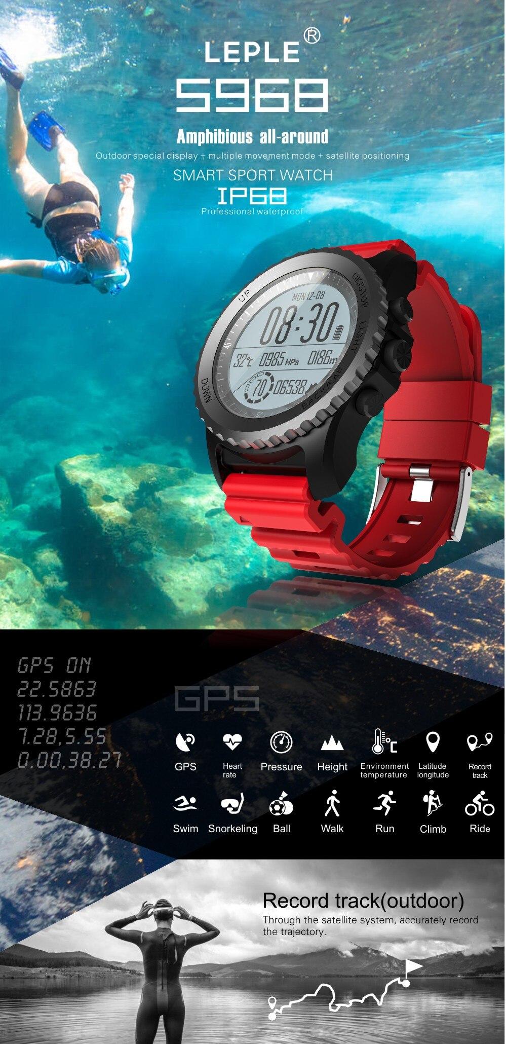 Montre Multi sports et de plongée S968 multifonction avec GPS et moniteur de fréquence cardiaque