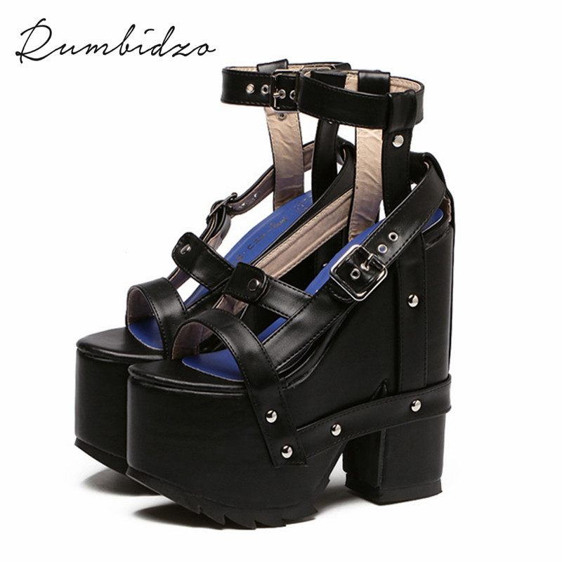 ФОТО Rumbidzo Hot Punk Rock Ultra High Heel Women Fetish Sandals Ankle Strap Platform Block Creepers Rivets Motorcycle Summer Boots