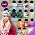 2017 Новый 3D Печати Шляпы для Женщины Осенью и Зимой Шапка нескольких Цветов Теплую Шапку Повелительница Шляпы Мяч Пом Skully Шапочки PY212