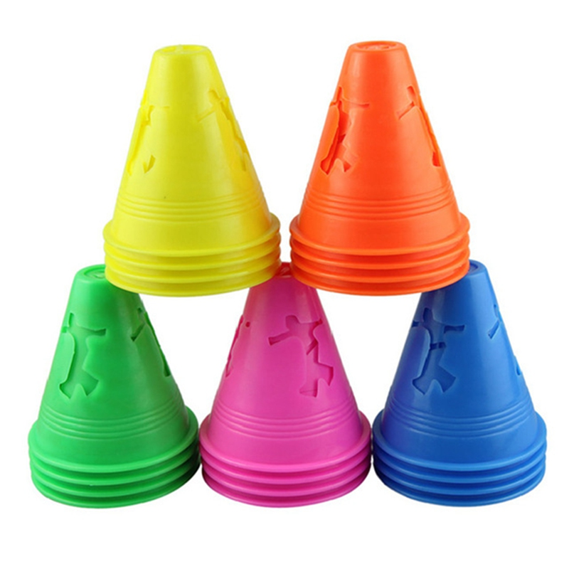 10Pcs Colorful Skateboard Marker Cones Soccer Rugby Speed Training Supplies