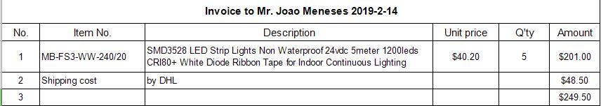 Facture à m. Joao Meneses 2019-2-14