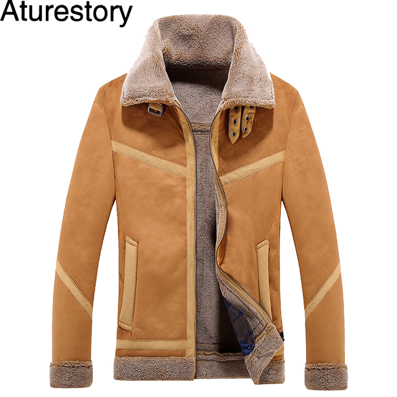 Aturestory Winter Mens Faux Leather Jacket Slim Motorcycle Suede Jackets Men Faux Fur Coats Male Autumn Winter Leather Clothing
