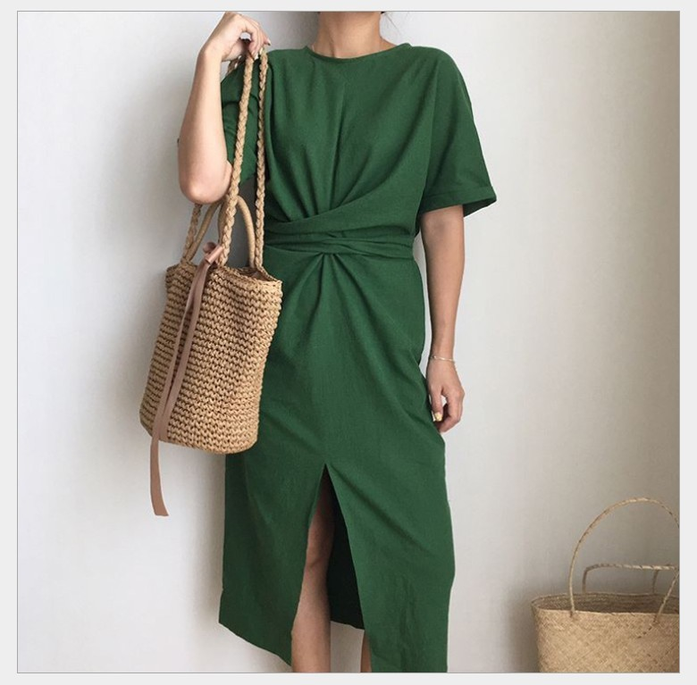 LANMREM 2018 Summer New Solid Color Loose Round Neck Natural Waist Vintage Split The Fork Fashion Women Dress E4100