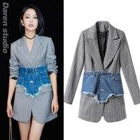 blazer feminino Celebrity gery plaid blazer women cardigan with denim girdle autumn causal balzer coat plus size