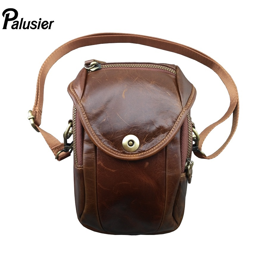 Oil Wax Leather Mens Pocket Retro Leather Wear Belt Mobile Phone Bag Male Outdoor Mountaineering bag