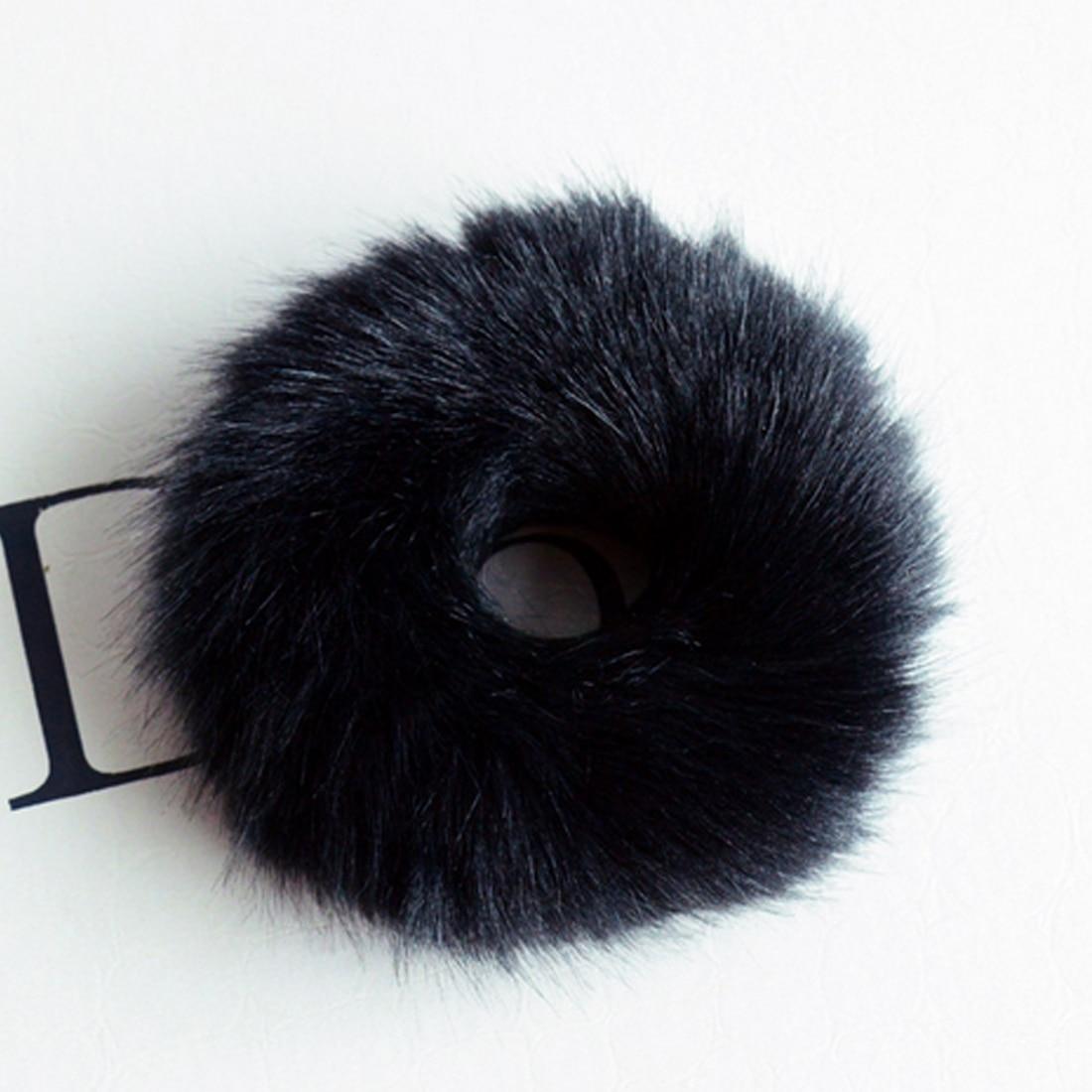Новинка, настоящая меховая кроличья шерсть, мягкие эластичные резинки для волос для женщин и девочек, милые резинки для волос, резинка для хвоста, модные аксессуары для волос - Цвет: Черный