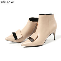 NEMAONE New genuine leather high heels ankle boots woman office ladies party dress wedding shoes black beige large size 41 42 43