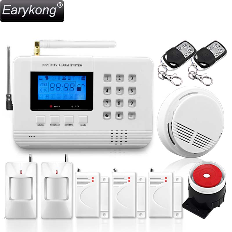 PSTN GSM Alarm System, Support Russian / Spanish / English Voice Language, Menu Display Prompt, For Home Security 1set safe armed hot selling gsm alarm system wired wireless 433mhz russian english voice prompt built in relay support