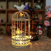 The European Style Wrought Iron Birdcage Candlestick Metal Crafts Creative Hollow Butterfly Candle Holders