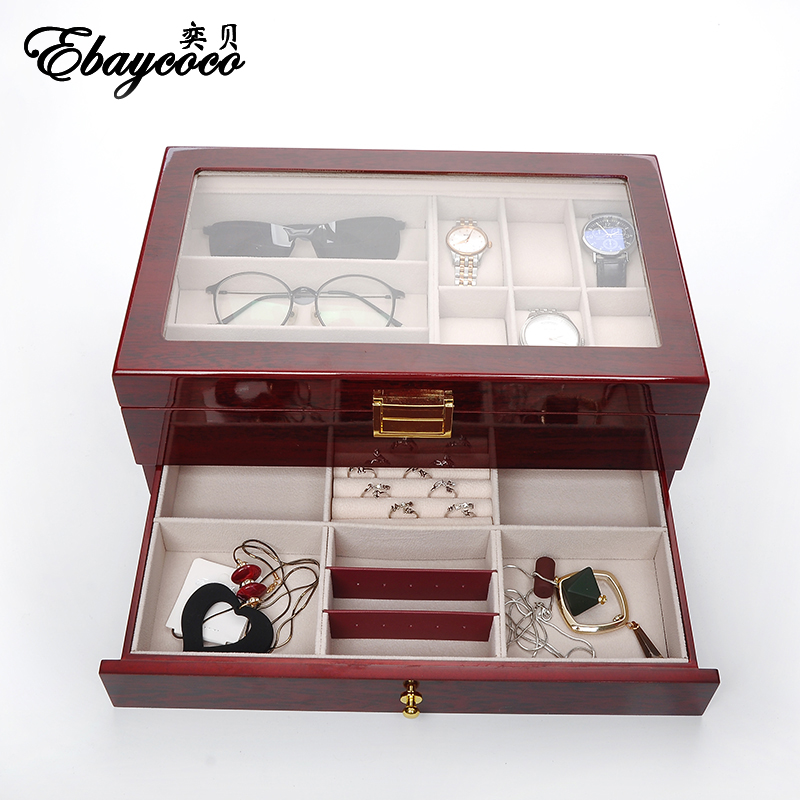 EBAYCOCO high quality Red light double jewelry box Double decked with drawers box watch case Solid wood material durable ebaycoco luxurious red jewelry accessories packaging black red matte 10table box jewelry box fashion display full box watch