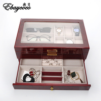 EBAYCOCO high quality Red light double jewelry box Double decked with drawers box watch case Solid wood material durable