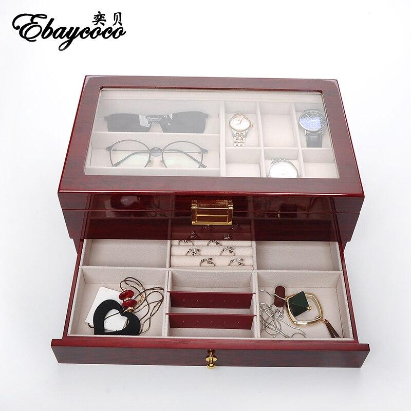 EBAYCOCO высокого качества красный свет двойной шкатулка двойной палубных с ящиками коробка часы случае твердой древесины материал прочный