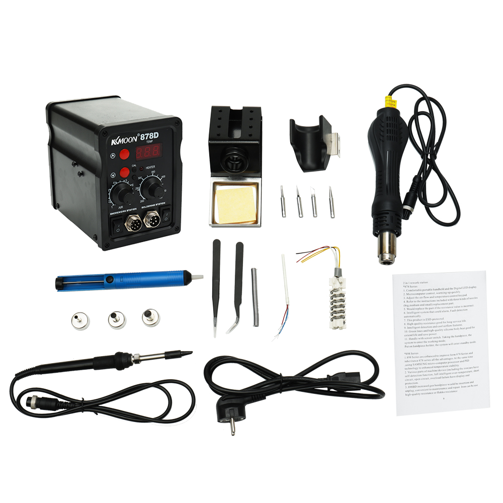 Digital BGA Rework Solder Station 2 In 1 Rework Station Electric Soldering Iron Hot Air Machine Thermostatic Soldering Station