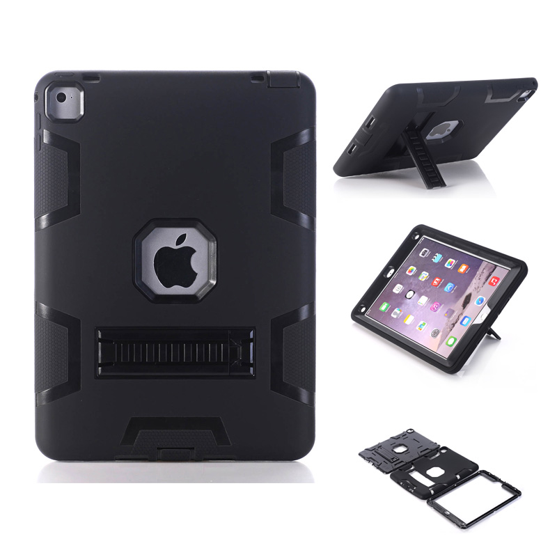 New Black Case for iPad Pro 9.7 Heavy Duty Plastic+Rubber Cover Case for Apple iPad Pro 9.7 Hybrid 3in 1 with Stand Holder new black case for ipad pro 9 7 heavy duty plastic rubber cover case for apple ipad pro 9 7 hybrid 3in 1 with stand holder