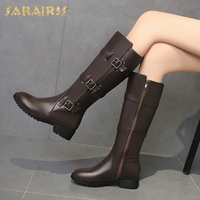 SARAIRIS New Plus Size 33 46 Wholesale Zip Up Boots Woman Shoes Chunky Heels Elegant Mid Calf Boots Shoes Woman