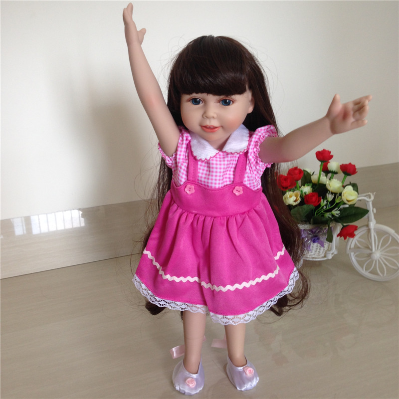ФОТО New Arrival 18inch Reborn American Girl Doll Realistic Baby Toys Made From Full Vinyl Silicone With Beautiful Clothes And Shoes
