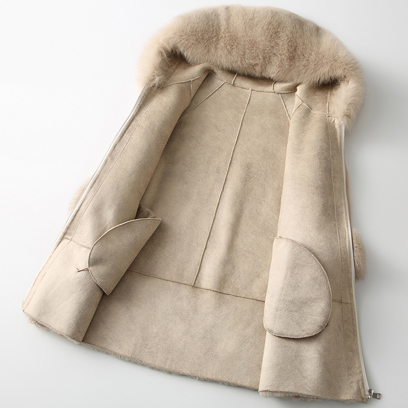 AYUNSUE 2019 الفراء الحقيقي معطف المرأة الثعلب الفراء طوق طويل الشتاء سترة الكورية الملابس الصوف الفراء معاطف وسترات CHQ19 1901 C KJ2514-في فراء حقيقي من ملابس نسائية على  مجموعة 3