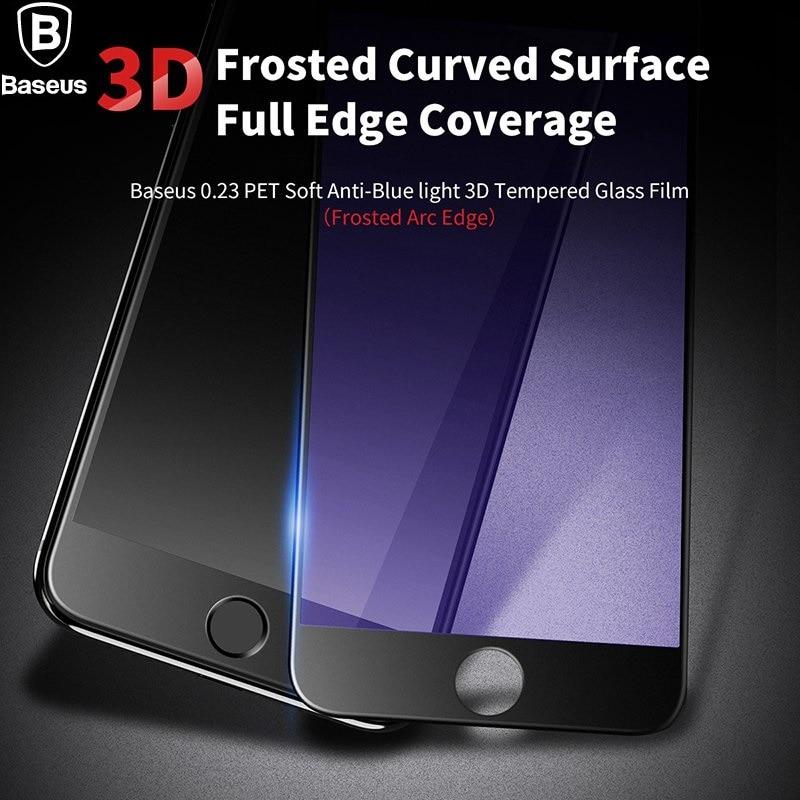 <font><b>BASEUS</b></font> Brand Ultra-thin 0.23mm Anti-Blue For iPhone 7 / 7 Plus <font><b>Tempered</b></font> <font><b>Glass</b></font> Screen Protector Film Frosted <font><b>ARC</b></font> <font><b>PET</b></font> <font><b>Soft</b></font> Edge