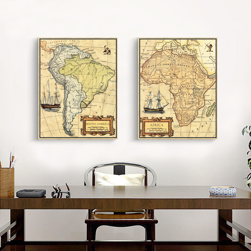 Classroom Decor South Africa ~ World map canvas painting vintage oil paint africa south