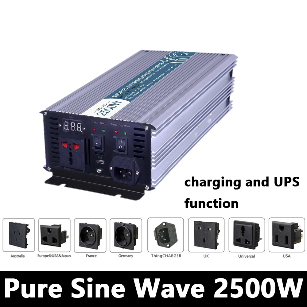 2500W Pure Sine Wave Inverter,DC 12V/24V/48V To AC110V/220V,off Grid Solar Power Inverter With Battery Charger And UPS p800 481 c pure sine wave 800w soiar iverter off grid ied dispiay iverter dc48v to 110vac with charge and ups
