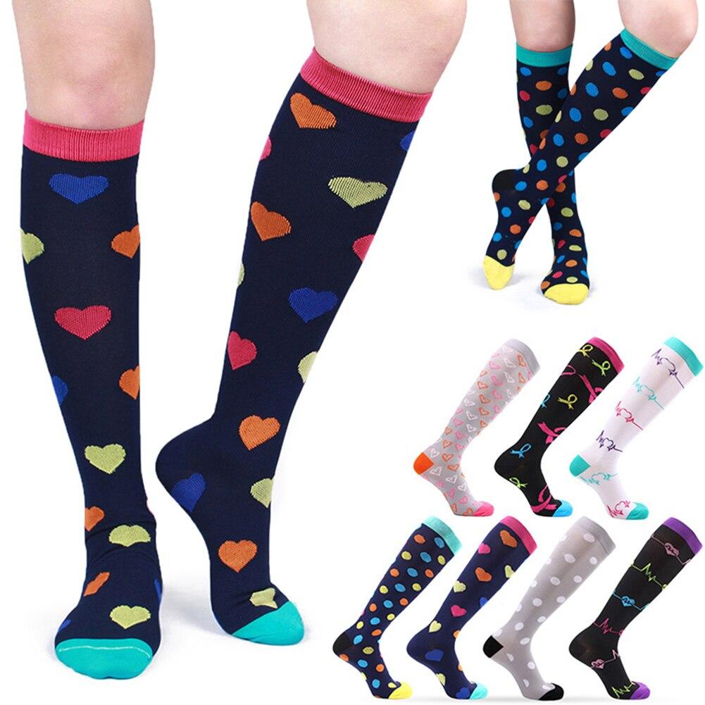 Women Long Stocking Thigh High Compression Stretch Elastic Nursing Calf Stocking Ladies Cute Heart Dot Student Fashion Stockings