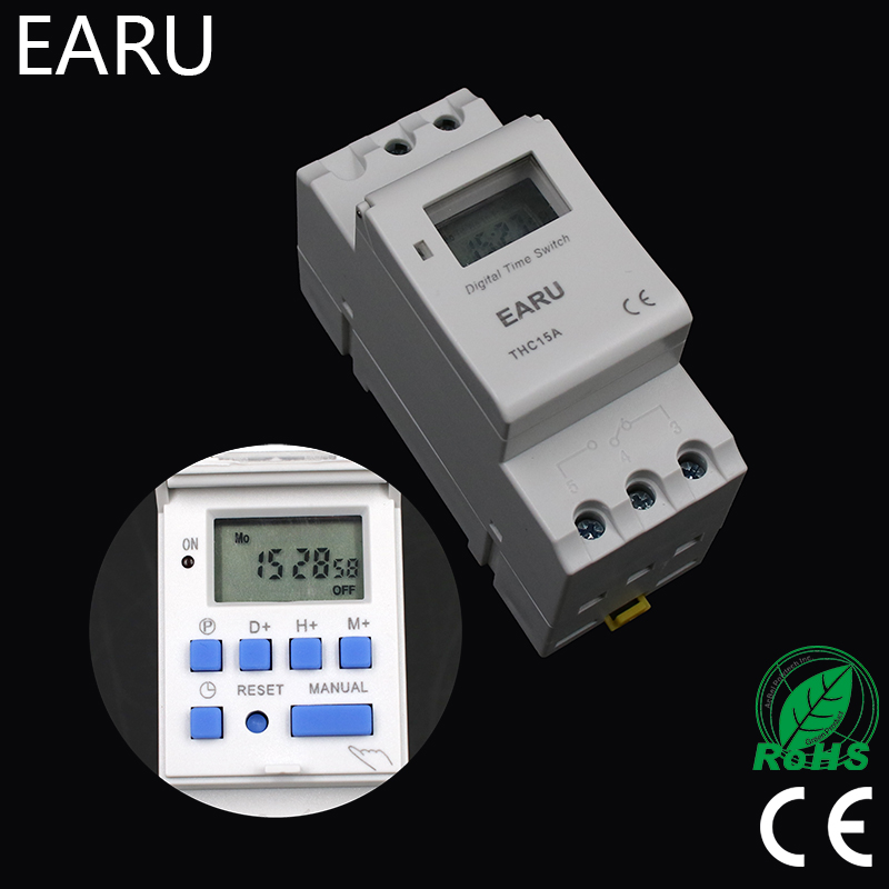 1pc Electronic Weekly 7 Days PROGRAMMABLE Timer THC15A AHC15A Digital Time Timer Switch Relay Din Rail AC DC 12V 24V 110V 220V