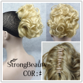 Synthetic Hair Short Blonde Black Red Fake Chignon Bun Hair piece short Curly clip on in Chignon Extensions Hairpiece For Women