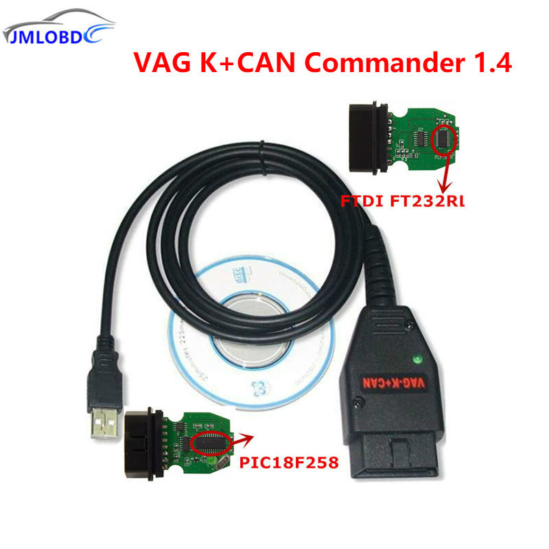 2018 VAG K + может Командир 1.4 VAG USB OBD диагностический Интерфейс OBD2 OBDII кабель для VAG серии с ftdi FT232RL PIC18F258 чип