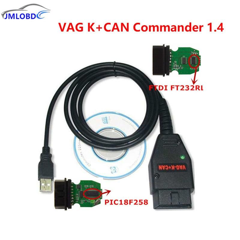 2018 VAG K + CAN Commander 1.4 vag USB OBD Interface De Diagnostic OBD2 OBDII Câble Pour VAG Série Avec FTDI FT232RL PIC18F258 puce