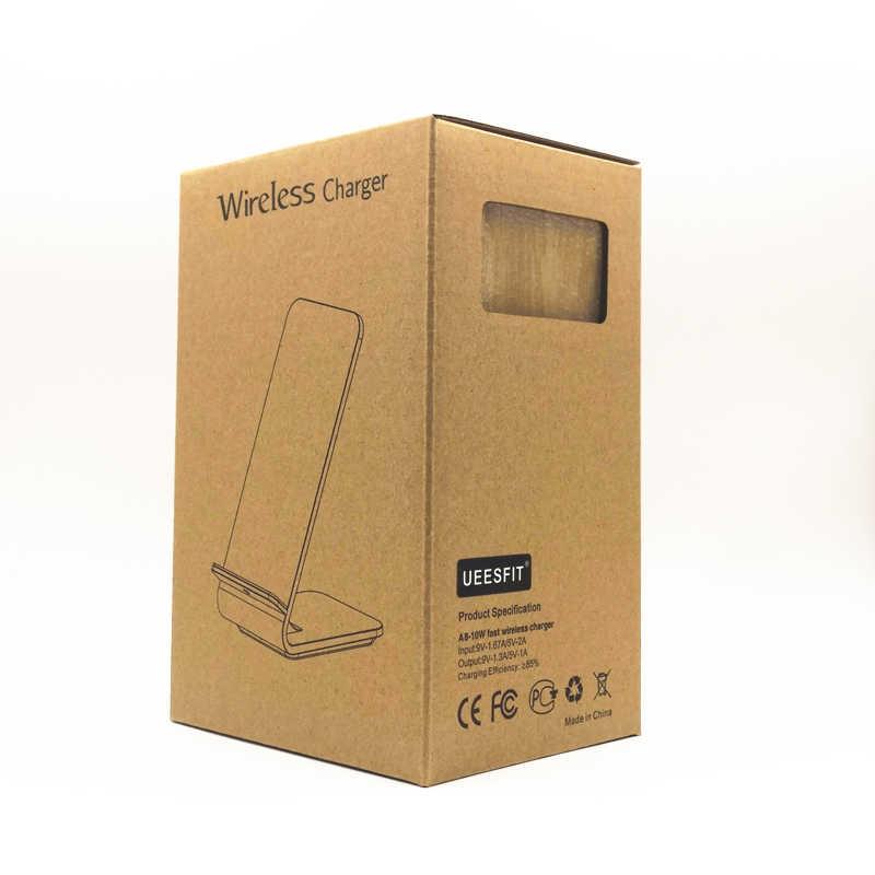 UEESFIT Houtnerf Snelle Draadloze Oplader Quick Draadloze Opladen Stand voor iPhoneX 8 8 Plus Samsung Galaxy S9 S7 S8 edge/Note5