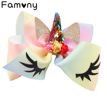 7 Cartoon Sequin Hair Bows For Girls Glitter Eyebrow Printed Hairbow Grosgrain Ribbon Accessories Kids Party