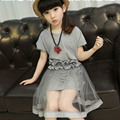 Meninas Roupas Crianças Roupas Da Moda Cor Sólida T-Shirt + Cinto + Fio Net Saia Pétala 3 Pcs Terno Roupa dos miúdos Conjuntos de Roupas Meninas